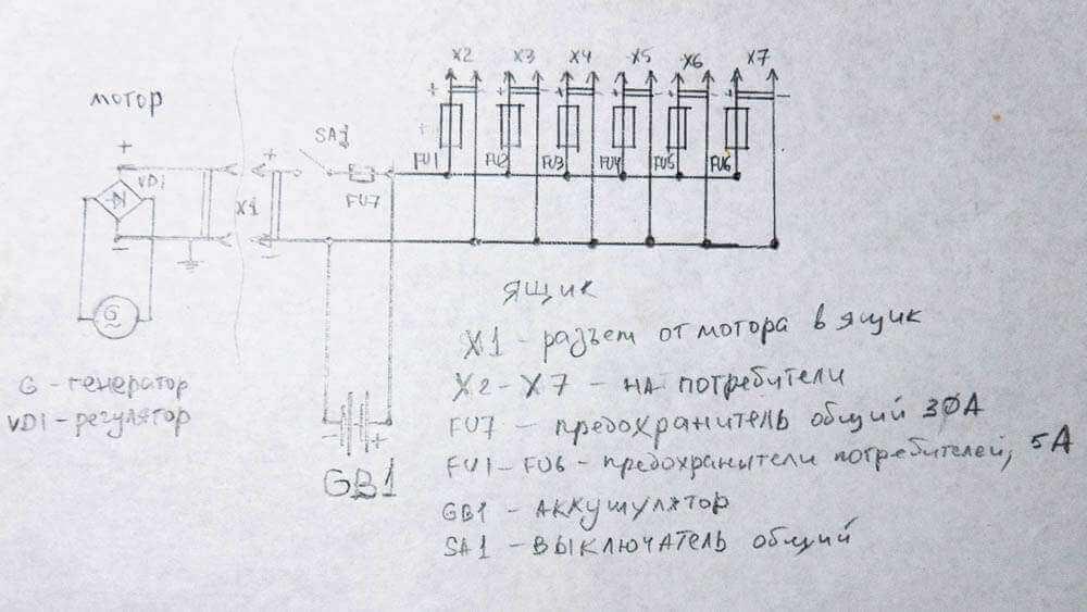 Электрическая схема аккумуляторного ящика