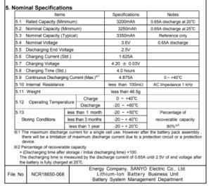 Liitokala NCR18650B datasheet
