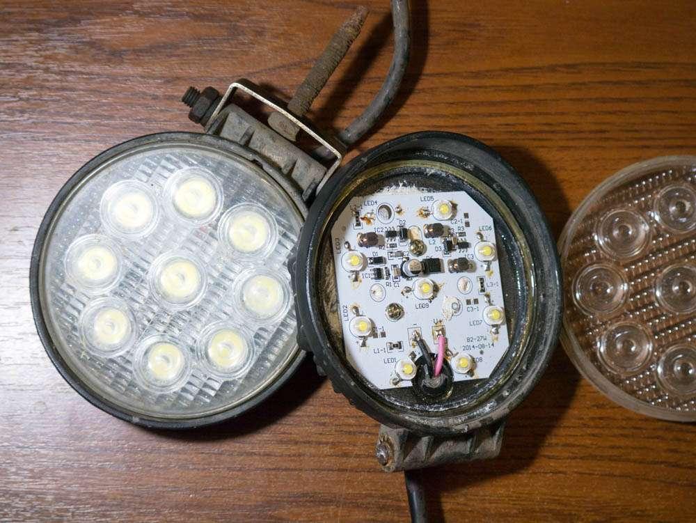 разобранная китайская фара 18W 9 LED