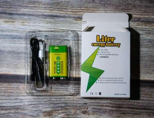 Liter energy battery 9v 1200 mAh: литиевая Крона 6F22 с зарядкой от USB