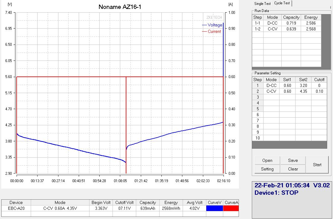AZ16-1 разрядная кривая